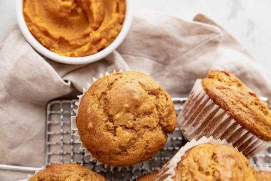 baked muffin on a wire cooling rack