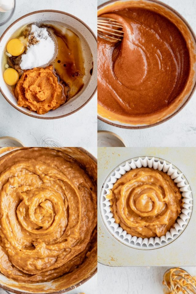 showing the steps to make pumpkin muffins